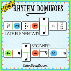 Rhythm Dominoes I almost didn't print this new game, not because it is embarrassingly simple since that has never stopped me before. No, the problem is that in the easy version, the player wh… Music Lessons For Kids, Music Lesson Plans, Music For Kids, Piano Lessons, Music Theory Games, Rhythm Games, Music Games, Middle School Music, Piano Teaching
