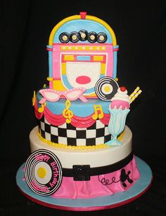 50's Party Cake www.tablescapesbydesign.com https://www.facebook.com/pages/Tablescapes-By-Design/129811416695
