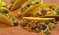 Tacos de canard, salsa de pêches et maïs