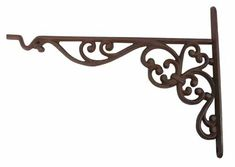 Cast Iron Decorative Bracket with Plant Hook Bracket measures x Made of cast iron Stylish bracket with hook for hanging plants, bird feeders, wind chimes, etc. Finished in a dark brown/rust color No mounting hardware or screws are included Decorative Metal Shelf Brackets, Metal Shelves, Wall Brackets, Wall Hooks, Plant Hooks, Plant Shelves, Plant Hangers, Hanging Plants Outdoor, Diy Hanging