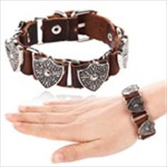 Fashionable Leather Bracelet Hand Chain Wrist Ornament Jewelry with Alloy Pattern Ornament Design - Color Assorted