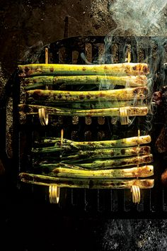 Kao Xiang Cong (Grilled Scallion Skewers)-- Double-skewering scallions ensures they don't fall through grill grates and allows for easier basting and flipping.