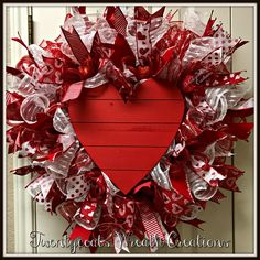 Red Wood Heart with red/white deco mesh wreath by Twentycoats Wreath Creations (2017)