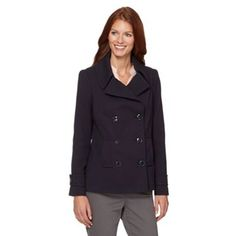 Designer Jasper Conran offers this stylish crepe peacoat in navy with a mock double breasted front and two pockets. It has a silky satin lining and button tab details to the cuffs. J By Jasper Conran, Debenhams, Double Breasted, Michael Kors, Wool, Navy, Stylish, Leather, Jackets