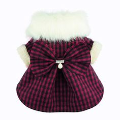 Fitwarm Fashion High Quality Pink Plaid Faux Furred Dog Dress for Pet Coats…