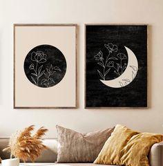 Wall Art Sets, Wall Art Prints, Sun Prints, Beige Art, Orange Art, Mid Century Modern Art, Star Art, Moon Art, Geometric Art