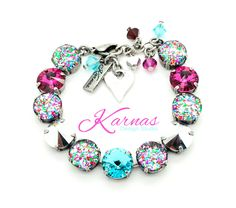 I LOVE CONFETTI 12mm Crystal Rivoli & Cabochon Bracelet Made With Swarovski Elements *Pick Your Finish *Karnas Design Studio *Free Shipping by KarnasDesignStudio on Etsy https://www.etsy.com/listing/267004835/i-love-confetti-12mm-crystal-rivoli