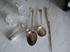 VINTAGE SOLID/PLATE SILVER JOBLOT, LETTER OPENER, TONGS, CRYSTAL CONDIMENT POTS | eBay