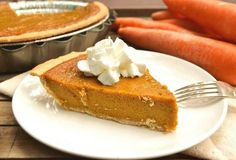 """Carrot Pie! """"If you like pumpkin pie you're going to love this carrot pie! Sweet, creamy, perfectly spiced and it's easier to make! Perfect pie for the holidays!""""  @allthecooks #recipe"""