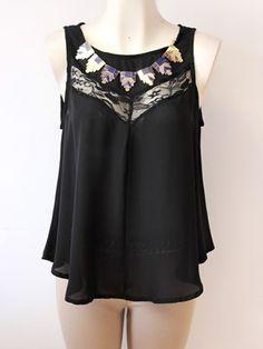 #blusa #negra #gasa y #encaje  con un toque #dorado