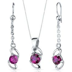Elegantly Simple 2.50 carats Round Cut Sterling Silver with Rhodium Finish Ruby Pendant Earrings Set Peora. $39.99