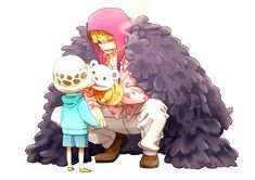Law, Corazon, young, childhood, cute, Bepo, puppet, pinching, cheek; One Piece