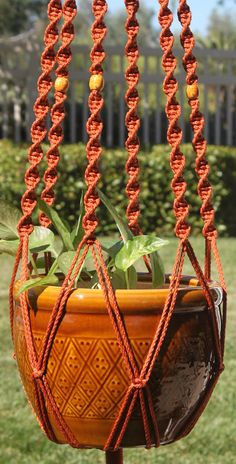 EMPRESS #Handmade #Macrame Plant Hanger In RUST By #ChironCreations. #etsy #