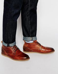 Image 1 ofRiver Island Borg-Lined Leather Boots