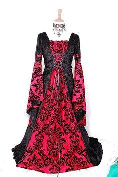 Red & black deep sleeved vampire dress medieval style.