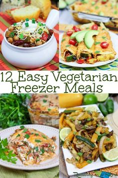 12 Healthy & Easy Vegetarian Freezer Meals- includes crockpot, slow cooker or instant pot options. The best for new Moms and post partum or just a busy time in life. Clean eating, low carb and gluten free options. / Running in a Skirt Vegetarian Frozen Meals, Vegan Freezer Meals, Clean Eating Vegetarian, Vegetarian Meal Prep, Make Ahead Meals, Clean Eating Recipes, Easy Meals, Vegetarian Recipes To Freeze, Healthy Eating
