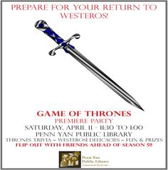 """4/11/15: Are you ready to flip out for season 5?  Have the trailers released by HBO so far got you chomping at the bit like a direwolf on some Lannister armsmen?  Join like minded individuals for an afternoon of trivia, snacks, music, prizes and fun!  Take a look at the Thrones-inspired board and card games, get a refresher on where the players stand at the start of the new season, and more.  Register for trivia (in """"Houses"""" of 1 to 3) by Monday, April 6, or just stop in for the rest!"""