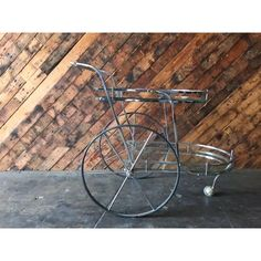 Image of Vintage 70's Chrome Glass Rolling Bar Cart