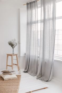 Light Grey Linen Curtain Light Grey Linen Curtain / Gray Linen Window Drape Our natural linen curtains will enrapture you with simple forms, clear colors, extreme comfort, quality and a breath of nature in your home. Grey Curtains Bedroom, Grey Linen Curtains, Extra Wide Curtains, Long Curtains, Curtains Living, Window Drapes, Bedroom Decor, Modern Curtains, White And Gray Curtains