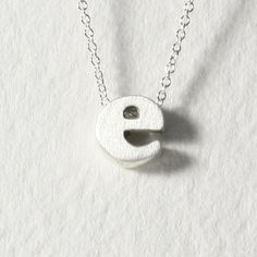 sterling silver block letter initial necklace - e
