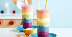 Get your kids excited about fruit with this gorgeous rainbow smoothie.