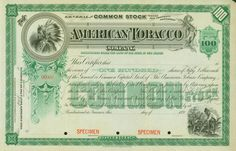 American Tobacco Company stock certificate, 1890