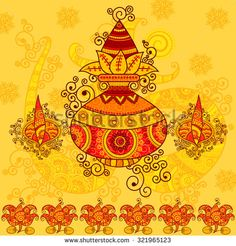 Vector design of kalash with coconut, mango leaves and diya in Indian art style