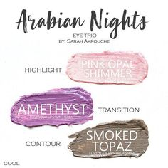 Arabian Nights Eye Trio uses three SeneGence ShadowSense : Pink Opal Shimmer, Amethyst and Smoked Topaz. These creme to powder eyeshadows will last ALL DAY on your eye. #shadowsense #trio #shadowsensetrio #eyeshadow #arabiannights