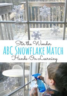 ABC Snowflake Match a fun way for toddlers & preschoolers to practice letter recognition! AND the Hands-on Activities for Kids Monthly Link-up! Winter Activities For Kids, Kids Learning Activities, Alphabet Activities, Literacy Activities, Educational Activities, Preschool Activities, Teaching Kids, Preschool Winter, Teaching Resources