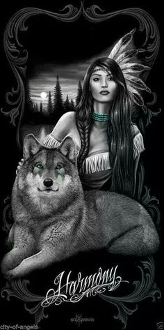 Indian maiden and wolf guide More