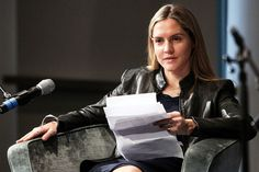 Louise Mensch conducting an interview at the Royal Albert Hall in London, March 28, 2013. By Susannah Ireland/Redux.