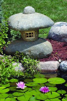 A Japanese stone lantern.