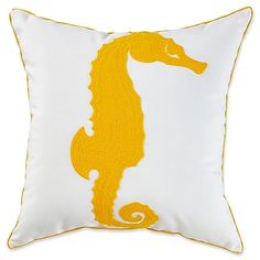 The nautically themed Seahorse Square Throw Pillow features wonderfully textured crewel embroidery and solid backing. Update your outdoor decor with this piece's beautiful colors and durable, long-lasting aesthetic.