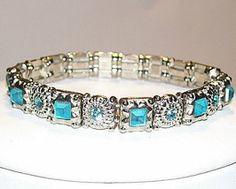 Aquamarine Swarovski Crystal Artisan Jewelry Bracelet Hand Crafted