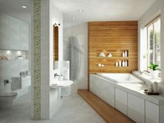 White with wood modern bathroom!