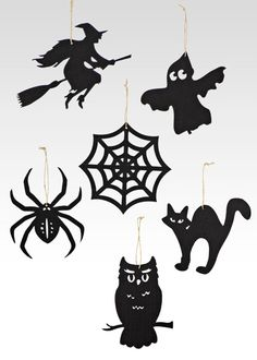 Classic Halloween Icon Ornaments: Black Silhouette Spider, Witch On A Broomstick, Owl, Cat, Ghost, & Spider Web, JamaliGarden.com.