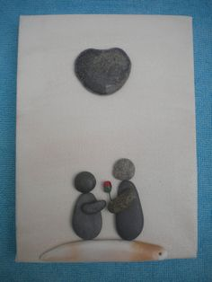 MTO VALENTINE LOVERS Pebble Art Painting Picture by DengraDesigns