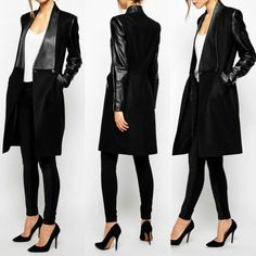 Autumn Women Collar PU Leather Woolen Long Slim Jacket Coat Parka Trench Outwear #Unlicensed #BasicJacket