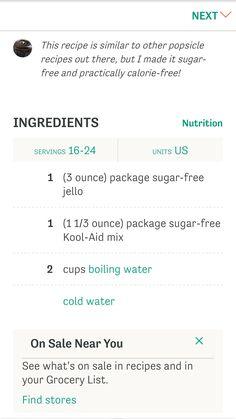 Sugar free jello popsicles--ingredients
