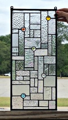 This panel measures 8  X 18  and is made with all re-purposed scrap glass from our production shop. We made several variation of this so be sure to check them all out and order the one you like the best.