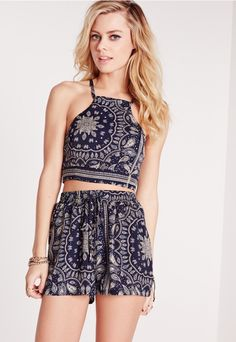 Petite Exclusive Tie Back Paisley Crop Cami Twin Navy - Missguided