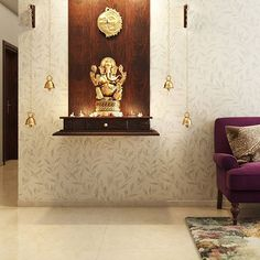 Light up a corner of your living room with your own little spiritual corner! Tell us what you love about this Pooja space for… Pooja Room Door Design, Home Room Design, Living Room Designs, House Design, Design Design, Design Trends, Ganesha, Temple Design For Home, Living Room Panelling