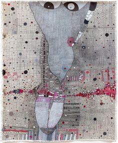 """Rossinante Under Cover XII"", an acrylic and pen painting by Lebanese artist Huguette Caland Mixed Media Collage, Mixed Media Canvas, Collage Art, Collages, Illustrations, Illustration Art, Creation Art, Textile Fiber Art, Fibre Art"