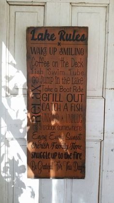 Lake Rules sign for up at the cabin! Decor wooden sign for family house or cabin. Find this sign and others at: https://www.etsy.com/listing/487106495/cabin-life-sign-cabin-rules-sign-cabin