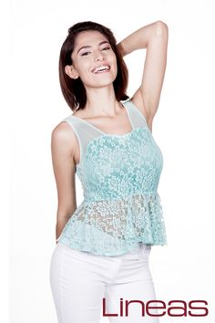Blusa, Modelo 18684. Precio $170 MXN #Lineas #outfit #moda #tendencias #2014 #ropa #prendas #estilo #primavera #blusa