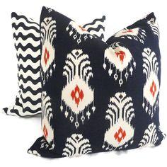 Nate Berkus Navy Blue and Red Ikat Decorative Pillow Cover, 18x18, 20x20, 22x22 or lumbar pillow, Accent Pillow, Throw Pillows,