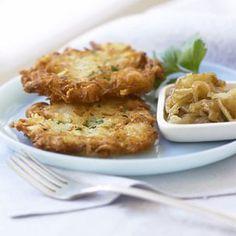 Potato and Cauliflower Latkes Recipe Side Dishes with cauliflower, russet potatoes, yellow onion, eggs, all-purpose flour, chopped fresh chives, kosher salt, freshly ground pepper, vegetable oil, applesauce