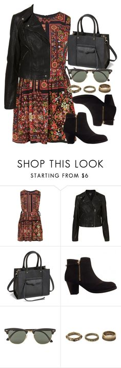 """""""Style #9311"""" by vany-alvarado ❤ liked on Polyvore featuring Topshop, Rebecca Minkoff, Ray-Ban and Forever 21"""