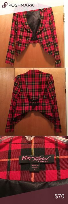 Super cute Fall Plaid Blazer!! Super cute High low blazer. Worn once. Has matching skirt for the perfect clueless outfit. (See listings for skirt) fits like medium. Was also in runway! Betsey Johnson Jackets & Coats Blazers
