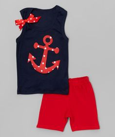 Navy Anchor Tank & Red Shorts - Infant, Toddler & Girls